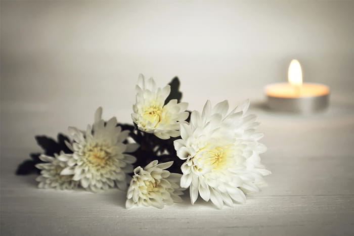 Candle and flower